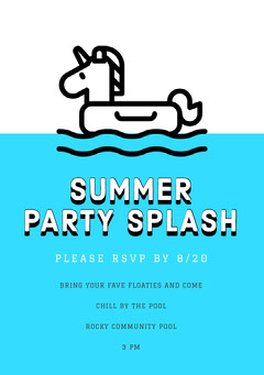 White and Blue Pool Party Invitation Party