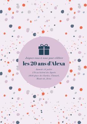 les 20 ans d'Alexa Invitation d'anniversaire