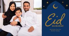 Navy and Gold Simple Eid Mubarak Split-Frame Photo Greeting Eid Mubarak