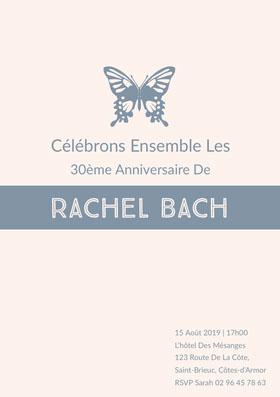 Rachel Bach  Invitation d'anniversaire