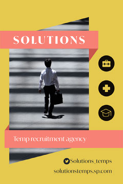 Yellow Solutions Temp Agency Postcard Flyer Vertical Service