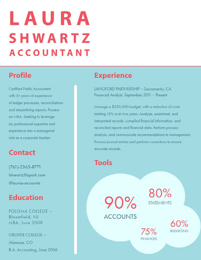 Blue White and Red Accountant Resume Ideen für Infografiken