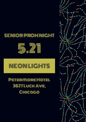 Yellow and Black Senior Prom Night Poster Prom Posters