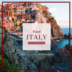 Italy Travel and Tourism Instagram Post with Coastal Town Italy