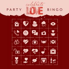 Claret and Pink Valentines Bingo Card Celebration