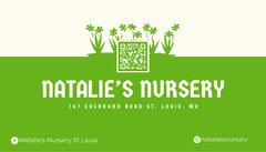 Green Nursery Business Card With QR Code Garden