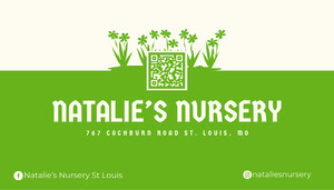 Green Nursery Business Card With QR Code Business Cards with QR Code