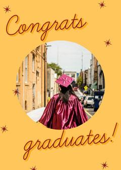Yellow Congrats Graduates Card Graduation Congratulation