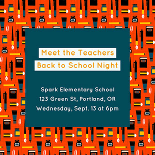 Spark Elementary School 123 Green St, Portland, OR Wednesday, Sept. 13 at 6pm E-postinvitasjon