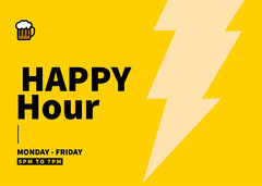 Yellow Happy Hour Card Deal