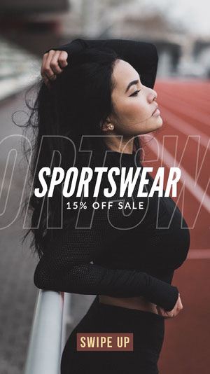 Red, Black and White Sportswear Sale Ad Instagram Story 50 caratteri moderni