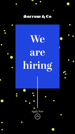 black yellow blue we are hiring apply now instagram story  Career Poster