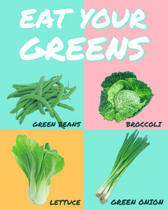 Pastel Colored Healthy Eating Instagram Portrait Graphic with Vegetables Healthy