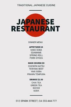 JAPANESE<BR>RESTAURANT Dinner Menu