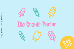 Blue and Colorful Ice Cream Parlor Social Post Ice Cream Social Flyer
