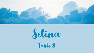 Blue and Sky View Place Card Baptism Place Card