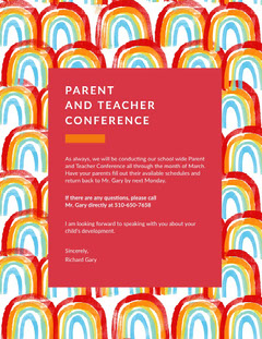 Colorful, Rainbow Pictures Framed Parent and Teacher Conference  Poster Rainbow