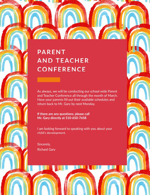 Colorful, Rainbow Pictures Framed Parent and Teacher Conference  Poster Conference Flyer
