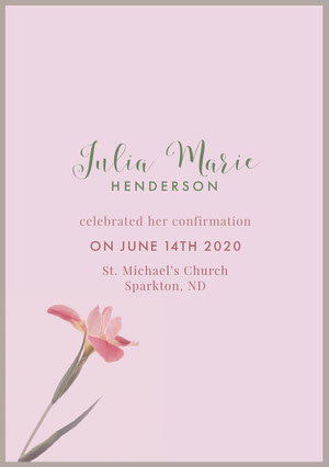 Pink and Green Confirmation Announcement Aankondiging