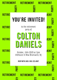 Neon Green Modern Retirement Party Invitation Retirement Party Invitation