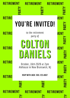 Neon Green Modern Retirement Party Invitation Festinvitation