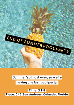 END OF SUMMER POOL PARTY Party