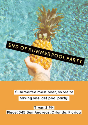 END OF SUMMER POOL PARTY Invitation à une fête