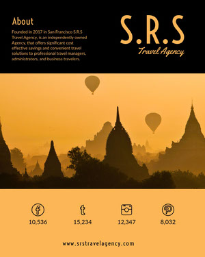 Orange Travel Agency Media Kit with Asian Temple Photo Kit per i media