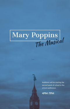 Blue Toned, Minimalistic Marry Poppins Auditions Ad Poster Play Poster