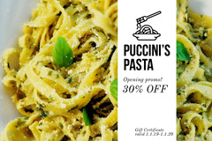 White and Fresh Pasta Gift Certificate  Gift Card
