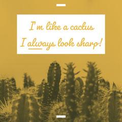Yellow Funny Cactus Pun Facebook Post Cactus