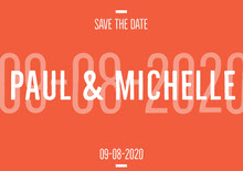 Orange and White Save The Date Card Wedding Invitation
