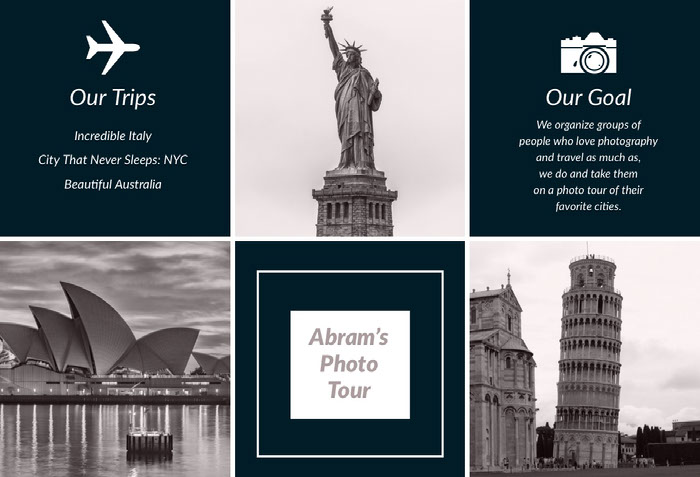 Black and White Travel Agency Travel Brochure Idées de brochures