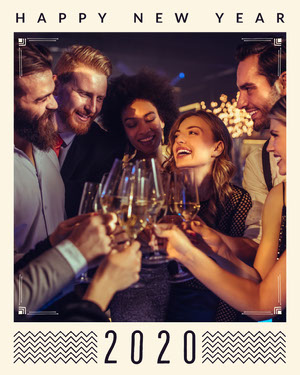 Light, Warm Toned, Friends Celebrating New Year, Instagram Portrait Happy New Year Messages