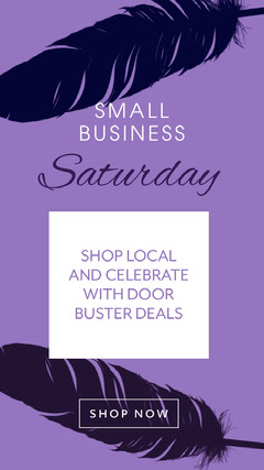 ig story small business saturday door buster deals purple feathers Black Friday