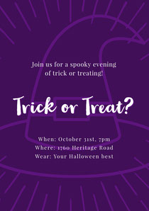 Violet and White Halloween Trick Or Treat Party Invitation Scary