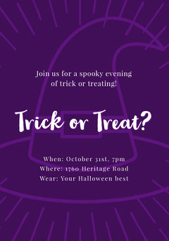 Halloween Trick Or Treat Party Invitation Halloween Party Invitation