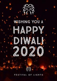 Brown and White, Dark, Illuminated Night Diwali Wishes Card Festival