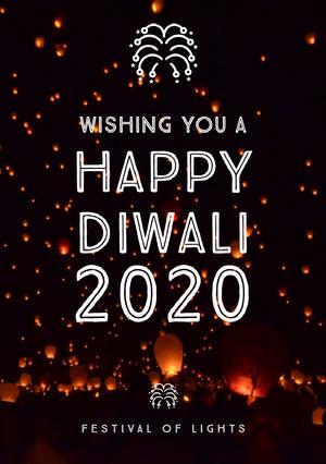 Brown and White, Dark, Illuminated Night Diwali Wishes Card Diwali