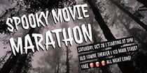 Grey and White Spooky Movie Marathon Facebook Banner Ad Scary