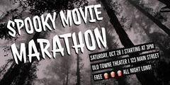 Grey and White Spooky Movie Marathon Facebook Banner Ad Movie Night Flyer