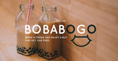 Beige Toned Boba Bogo Offer Facebook Banner Bogo