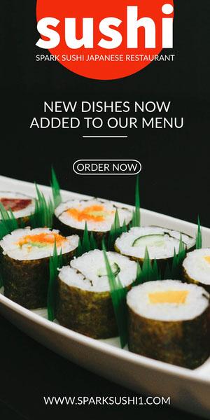 sushi Flyer de anúncio