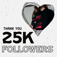 Black & White Speckled 25k Milestone Instagram Square Thank You Poster