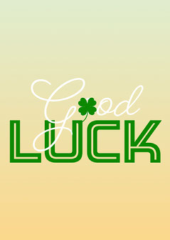Orange Green Gradient Good Luck Card Positive Thought
