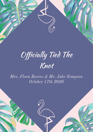 Violet and Green Wedding Announcement Wedding Announcement