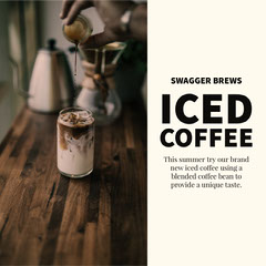 Iced Coffee Cafe Instagram Square Ad with Photo Coffee