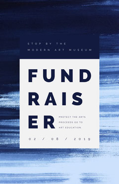 Blue and White Modern Art Museum Fundraiser Flyer Fundraiser