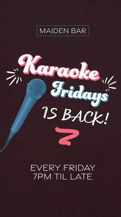 Pink and Blue Karaoke Friday Late Bar Instagram Story  Karaoke Flyer