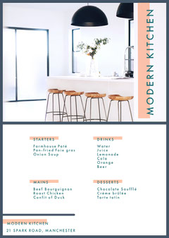 White and Blue Modern Kitchen Menu Drink Menu